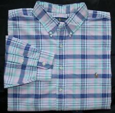 New 3XLT 3XL TALL POLO RALPH LAUREN Mens long sleeve oxford shirt pink blue top