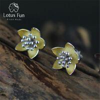 18K Yellow Gold Flower Stud Earring Solid 925 Silver Fine Jewelry for Women