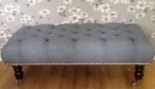 Footstool Stool In Laura Ashley Harley Seaspray Fabric