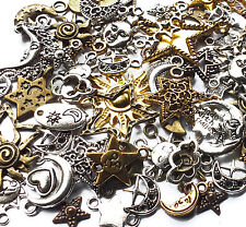 50 x Mixed Quality Sun Moon Star Celestial Charms Silver/Bronze/Gold Wicca Pagan
