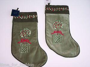 velvet stockings set topiary holiday ribbon art design Green & light green