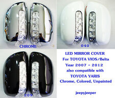 LED MIRROR COVER TOYOTA VIOS Yaris Sedan Belta 2007 - 2012 Chrome 040 209 218 @R