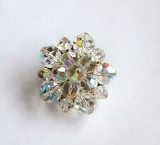 Vintage, CRYSTAL? Cluster Beaded BROOCH/PIN,Multi-Color, Gold Plate, Old