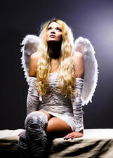 Womens Angel Costume with Feather Wings Std. (UK 10-12)