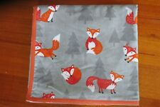 Baby blanket, h/made,double thickness, ex large-  Frolicking foxes on grey