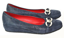 AMALFI BY RANGONI Blue Suede Embossed Wedge Pump w/Silver Chain Detail Size 10