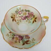 Vintage Teacup and Saucer Schumann Arzberg, Germany Floral Spray Gold Gilt
