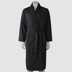 $54 Hanes Men's Black Cotton Pocket Lightweight Woven Shawl Sleepwear Robe M/L
