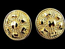 Classic Vintage Christian Dior Gold Tone Rope Textured Pierced Earrings