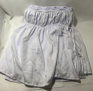 Elastic Bed Skirt Dust Ruffle, TWIN Easy Fit Wrap Microfiber WHITE - PREOWNED