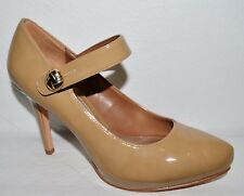 WHITE HOUSE BLACK MARKET SZ 8 M NUDE BEIGE PATENT MARY JANE PUMPS HEELS SHOES