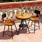 VINTAGE INDUSTRIAL RUSTICINDOOR OUTDOOR METAL TABLE CHAIRS SET 3PCS WOODEN TOP