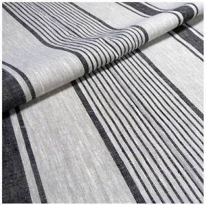 100% linen fabric Natural black striped french belgium flax sack heavy dense