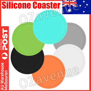 6x Set Round Black Silicone Coasters Non-slip Cup Mats Pad Drinks Table Glasses