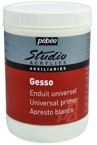 Pebeo Studio Acrylics Auxiliaries White Gesso Painting Primer 1 Litre