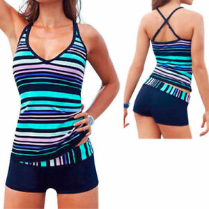 Women Sporty Tankini sets with Boy Shorts Swimwear Two Piece Swimsuit UK