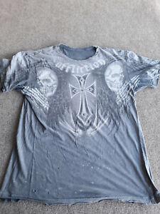 Aflliction T-Shirt Adult Size L Gray Skull Studded Cross Kelly The Ghost Pavlik