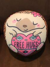 "JUSTICE ""FREE HUGS"" HEDGEHOG  BEANBAG PILLOW ROUND SOFT & SUPER CUTE!!!"