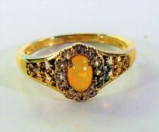 Sterling Silver 925  Gold Crystal Stone Accents Tangerine Gem Ring 2.62G Sz 8.5
