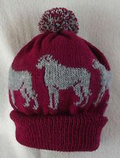 More details for deerhound / wolfhound dog design on new knitted maroon pom pom bobble hat