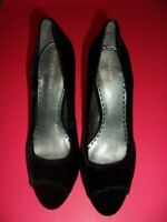 Women's GIANNI BINI Black Velvet Peep Toe Pumps SIZE 10M (NEW)