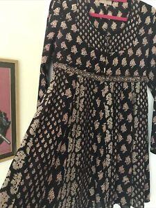 East Artisan With Anokhi Indian Cotton Blockprint Hippy Dress Size 8