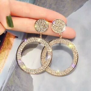 Beautiful Gold Circle Stud Dangle Earrings Made With Swarovski Crystals