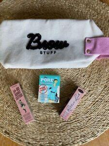 BENEFIT Cosmetics Brow Stuff Makeup Bag BONUS Samples Roller Lash Brow Setter +