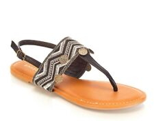 Bamboo Womens  Sz 6.5 Embroidered T-Strap Sandals Black & Silver - Style - Aveno