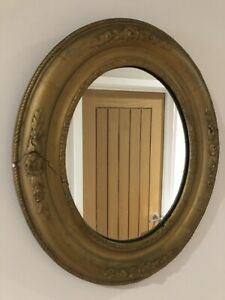 Antique Stucco Plaster Oval Mirror