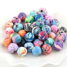 50pcs 12mm Soft Polymer Clay Flower Pattern Beads DIY Bracelet Necklace Jewelry