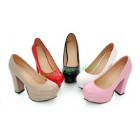 Womens High Heel Round Toe Loafer Party Wedding Block Platform Pumps Shoes Plus