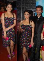 AUTH Dolce&Gabbana D&G silk multicolor polka dot corset ruffle Dress  40