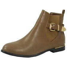 Womens Ladies Buckle Strap Low Cuban Heel Ankle Casual Chelsea BOOTS Shoes Size UK 6 / EU 39 / US 8 Khaki