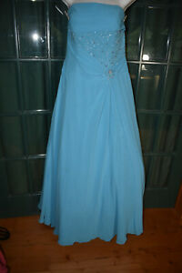 NIGHT MOVES BLUE SATRAPLESS BEADED BALL GOWN FORMAL GOWN  SIZE 14