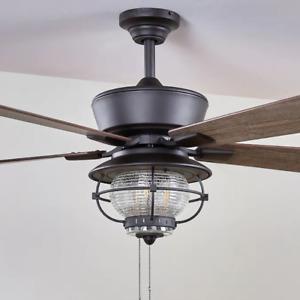"Outdoor 52"" Ceiling Fan Nautical Cage Seeded Lantern Coastal Patio Light Lamp"