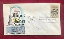 JOHN'S DEALS - US - 1957 FDC SC #1099 3c RELIGIOUS FREEDOM - FLUEGEL CACHET