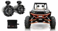 "(2) Rockville WB65 Black 6.5"" 600w Swivel Tower Speakers+MTX Amp For RZR/ATV/UTV"