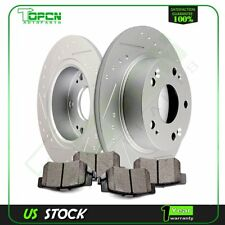 Rear Slotted Brake Rotors Ceramic Pads Fits 2004-08 Acura TSX 03-07 Honda Accord