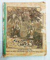 Vintage 1872 John Bear Baer's Agricultural Almanac Lancaster PA Antique Farmers
