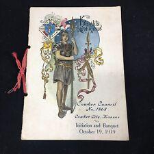 Knights Of Columbus KofC 1919 Initiation And Banquet Program Menu Toast Ephemera