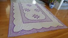 Vintage Chenille Bedspread As Is Purple & White 100% cotton Flowers (AeB