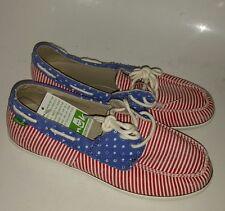 Sanuk Patriotic Canvas Boat Shoes Loafers Women's 6.5 Flag Yoga Mat Comfort NEW