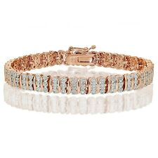 18K Rose Gold Tone 0.25ct Natural Diamond S Pattern Tennis Bracelet in Brass