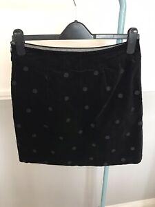 White Stuff Black Velvet Embroidary Spot Skirt Size 8