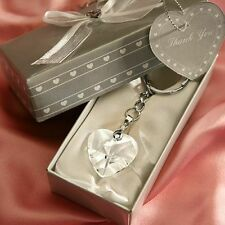 30 Chrome Key Chain w/ Crystal Heart Wedding Favors - Free US Shipping