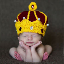 Newborn Babys Boys Crochet Knit Costume Photo Photography Prop Outfits Crown Cap