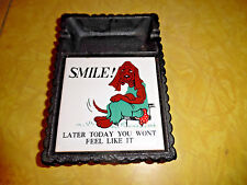 VINTAGE CAST IRON ASHTRAY WITH DOG HUMOR