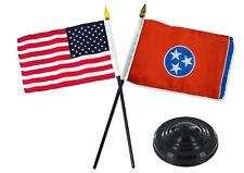 "Tennessee State w/ USA America American Flag 4""x6"" Desk Set Table Black Base"