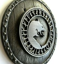 Geri and Freki Viking Wolfs of Odin on the Shield Wall Sculpture Home Decor